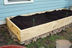A simple pine raised bed garden kit